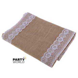 Hessian Table Runner with Lace Edges (v.2.)