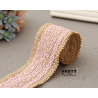 Hessian Ribbon with Pink Lace 2m