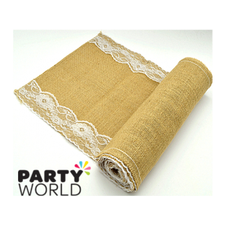 Hessian Table Runner with Lace Edges (v.3.)