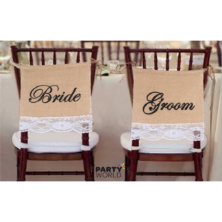 Bride & Groom Hessian Chair Signs / Bunting