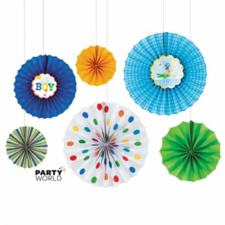 Oh Baby Boy Paper Fan Decorations (6)