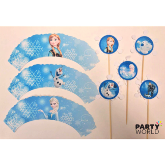 Frozen Cupcake Wrappers & Toppers (12)