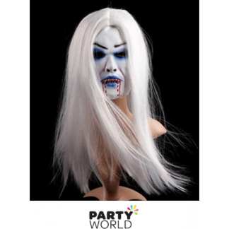 White Vampire Mask with White Hair