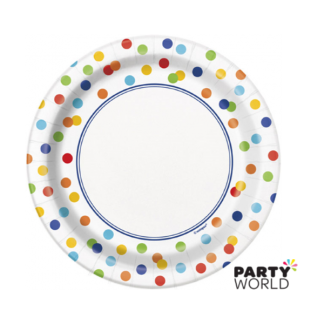 Rainbow Polka Dot Side Plates 7in (8)