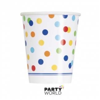 Rainbow Polka Dot Cups (8)
