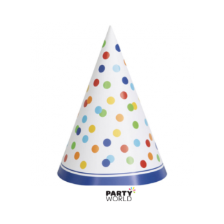 Rainbow Polka Dot Party Hats (8)