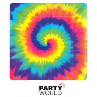 Feeling Groovy Tie Dye Square Plates 7in (8)