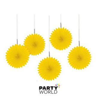 Mini Yellow Paper Fans (5)