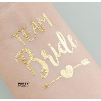 Team Bride Gold Flash Temporary Tattoos (10pk)