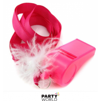 Pink Plastic Whistles (Pack of 10)
