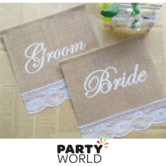 Bride/Groom Hessian & Lace Chair Signs