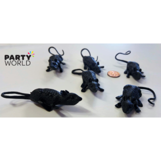Mini Plastic Black Rats (6)