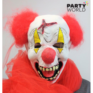 Creepy Clown Rubber Mask with Red Hair