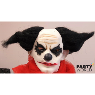 Creepy Clown Rubber Mask with Black Hair