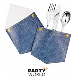 Denim Pocket Replica Cutlery/Napkin Holders (6)
