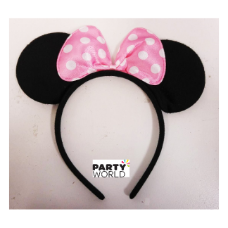 Minnie Mouse Headband With Pale Pink Bow (pack of 8)