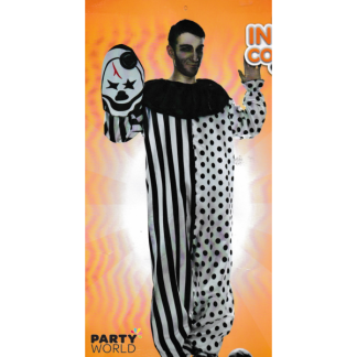 Scary Clown Costume with Fabric Mask - Mens
