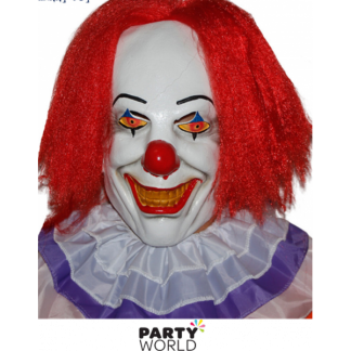 Red Nose Creepy Clown Rubber Mask
