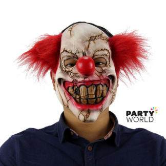 Cracked Evil Clown Rubber Mask