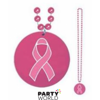 Pink Ribbon Beaded Necklace