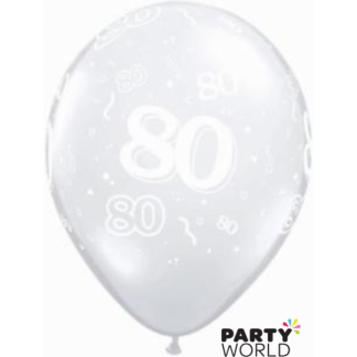 Clear 80th Balloons (5)