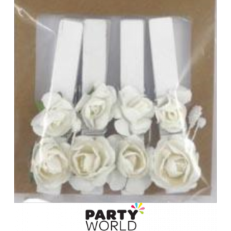 Craft White Pegs with Flowers (4)