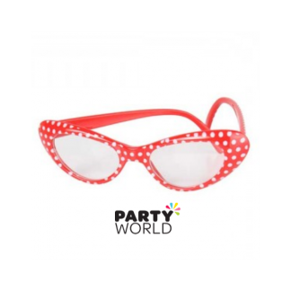 60's Red Glasses with White Spots