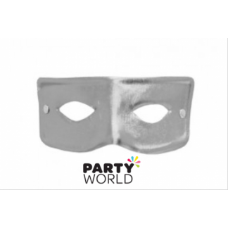 Metallic Silver Plain Masquerade Mask