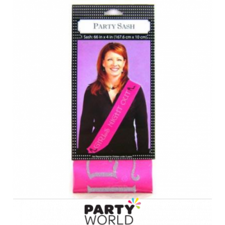 Girls Night Out Pink Sash