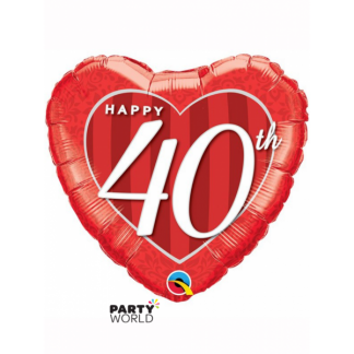 Happy 40th Red Heart Foil Balloon