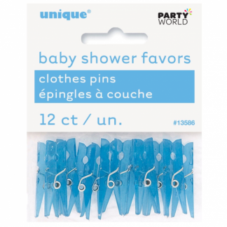 Blue Mini Clothes Pins / Pegs (12)