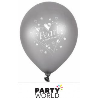 30th Pearl Anniversary Latex Balloons (6)