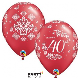 Qualatex Ruby Happy 40th Damask Balloons (5)