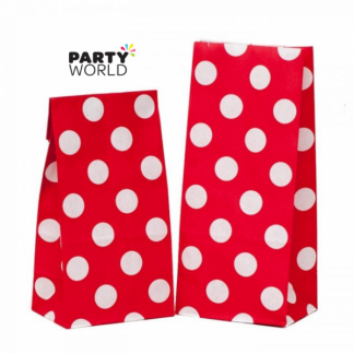 Red Polka Dot Paper Party Bags (12)