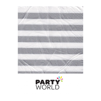 Silver Stripe Beverage Napkins (16)