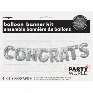 Congrats Foil Balloon Banner Kit Silver (air fill)