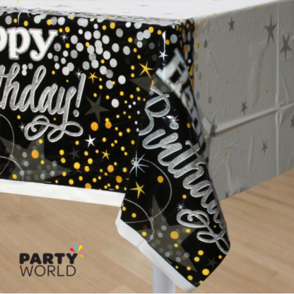 Glittering Birthday Plastic Table Cover