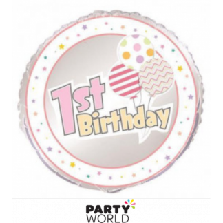 1st Birthday Pink Balloons & Stars Foil Balloon 18in
