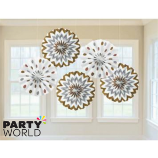 Mixed Metallic Paper Fans (5)