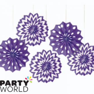 Pretty Purple Paper Fans (5)