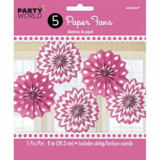 Bright Pink Paper Fans (5)