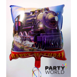 Train Happy Birthday Square Foil Balloon