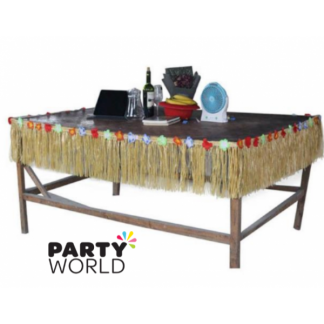 Short Tropical Table Skirt/ fringe for top of bar, Beige