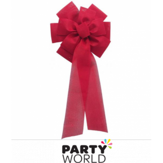 Hessian Vintage Bow Red 70cm