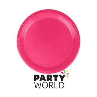 Hot Pink Plastic Plates 9in (25)