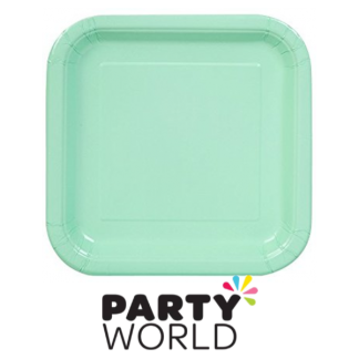 Paper Square Plates Mint 7in (16)