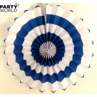 Royal Blue and White Paper Fan (12inch)