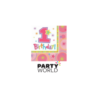 One-Derful Birthday Beverage Napkins Square Pink (16)