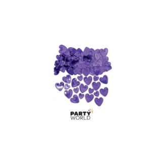 Purple Embossed Love Hearts Metallic Confetti 14g