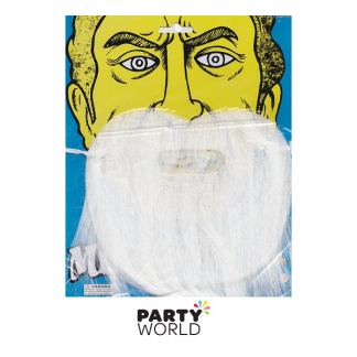 Party Moustache and Beard - White